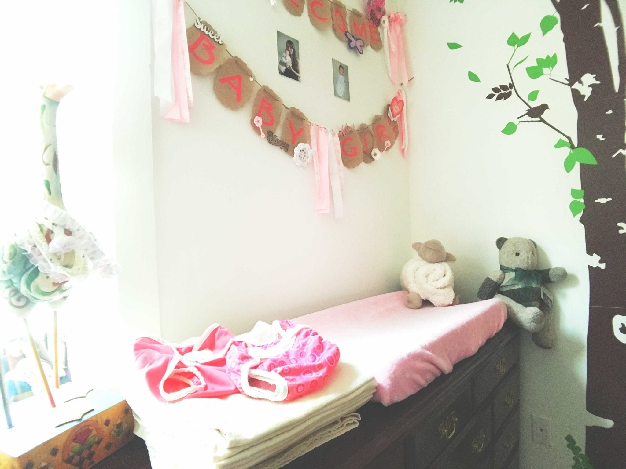 Secondhand Dresser, Lamp, Changing Pad and Cover, Diaper Covers and Blanket
